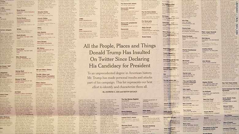 The New York Times just printed every single Donald Trump insult