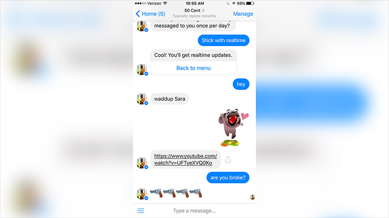 octane bots facebook message