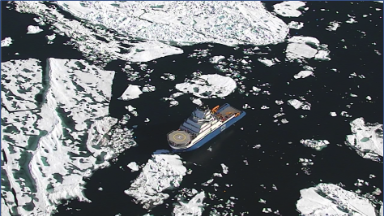Ship relies on drone to avoid ice blocks in Arctic waters