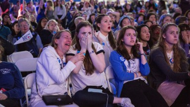 Shock and tears at Clinton's college