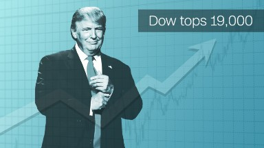 Stunning! Dow hits new high of 19,000 as Trump rally continues