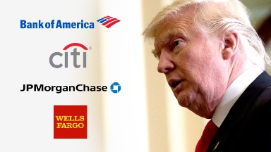 Dark clouds hover over big banks' Trump party