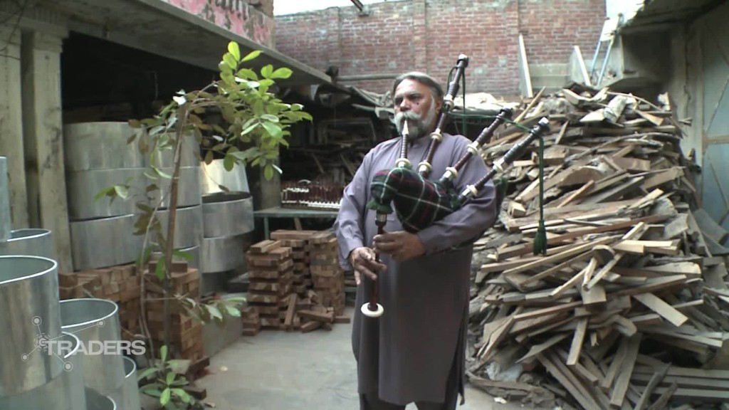 These bagpipes are made in Pakistan