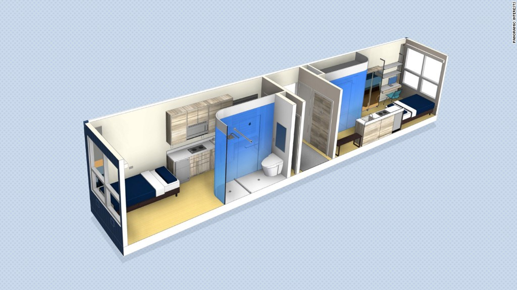 Stackable micro-apartments for the homeless