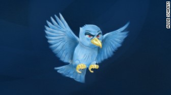 angry twitter bird flying