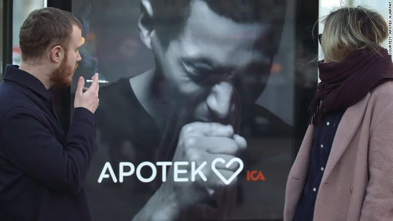 This smart billboard coughs if you smoke near it