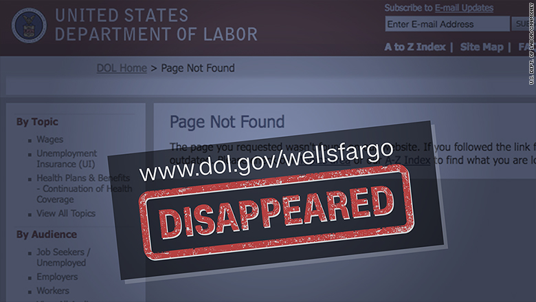 wells fargo website labor department