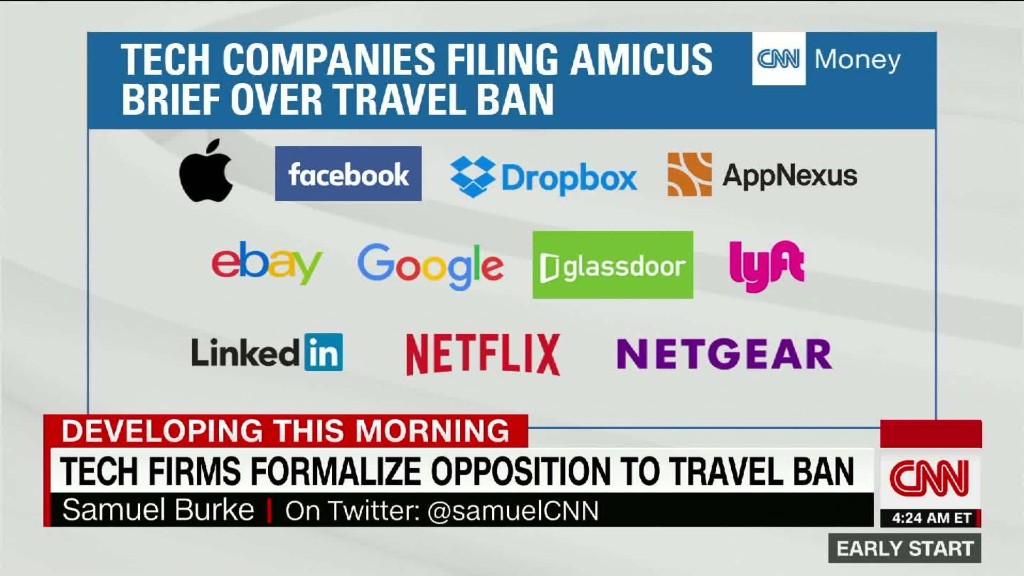 Tech firms take travel ban opposition to court
