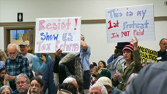 Republicans face tough questions about Trump's tax returns at town halls