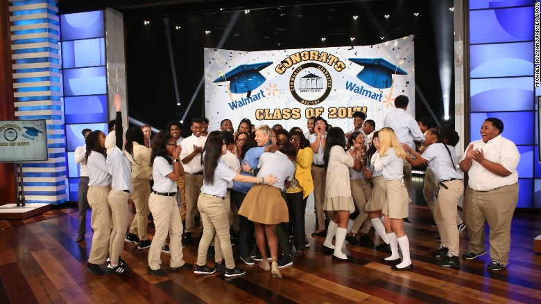 Ellen DeGeneres and Walmart give Brooklyn high school students the ultimate prize