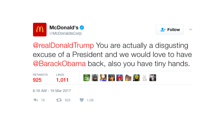 McDonald's Twitter account calls Donald Trump 'disgusting excuse of a president'