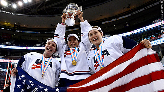 While the U.S. men's hockey team sat in business class, the women sat in coach