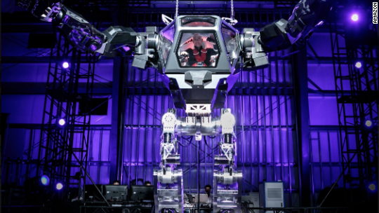 Jeff Bezos tests giant robot suit