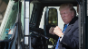 President Trump hops into a truck cab
