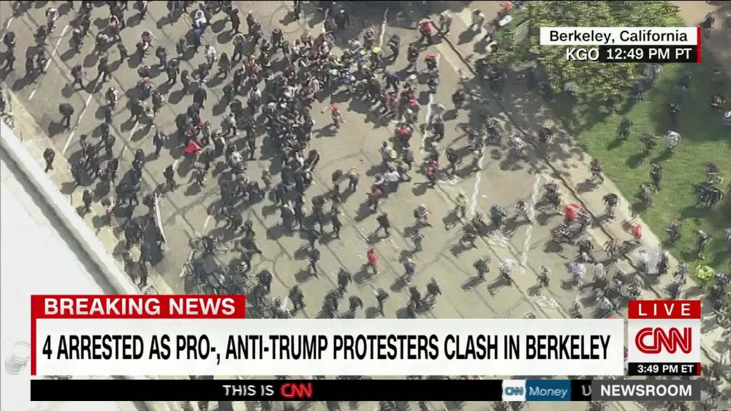 Trump Tax Day protests turn violent