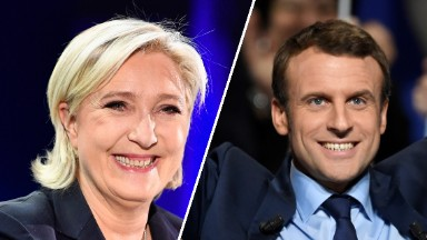 Projections suggest Macron, Le Pen make runoff