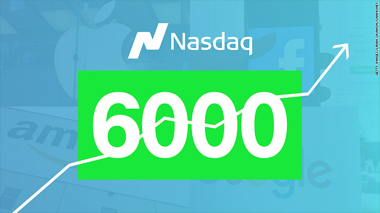 Nasdaq tops 6,000 for first time