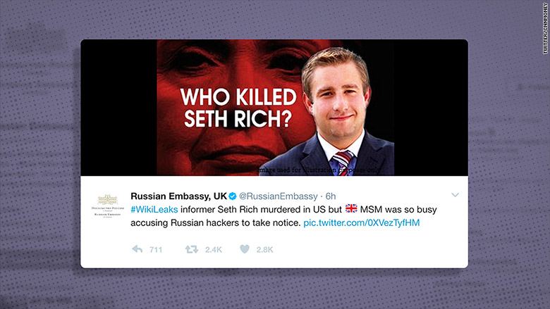 Russian Embassy tweets meme connecting Hillary Clinton to Seth Rich's murder