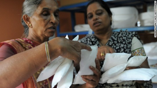 India's high tax on sanitary pads sets off protest