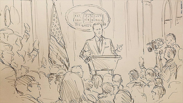money.cnn.com - Brian Stelter - With cameras banned, CNN sends sketch artist to White House briefing