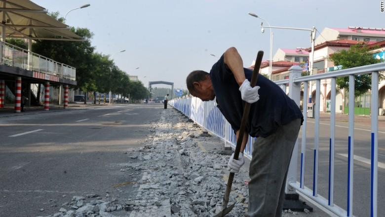 China elevated bus TEB tracks demolished