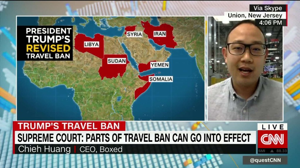 Boxed CEO reacts to partial reinstatement of Trump travel ban