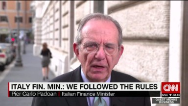 Italy's Finance Minster defends bank bailout