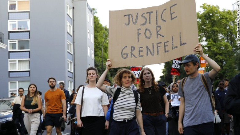 grenfell fire london protest