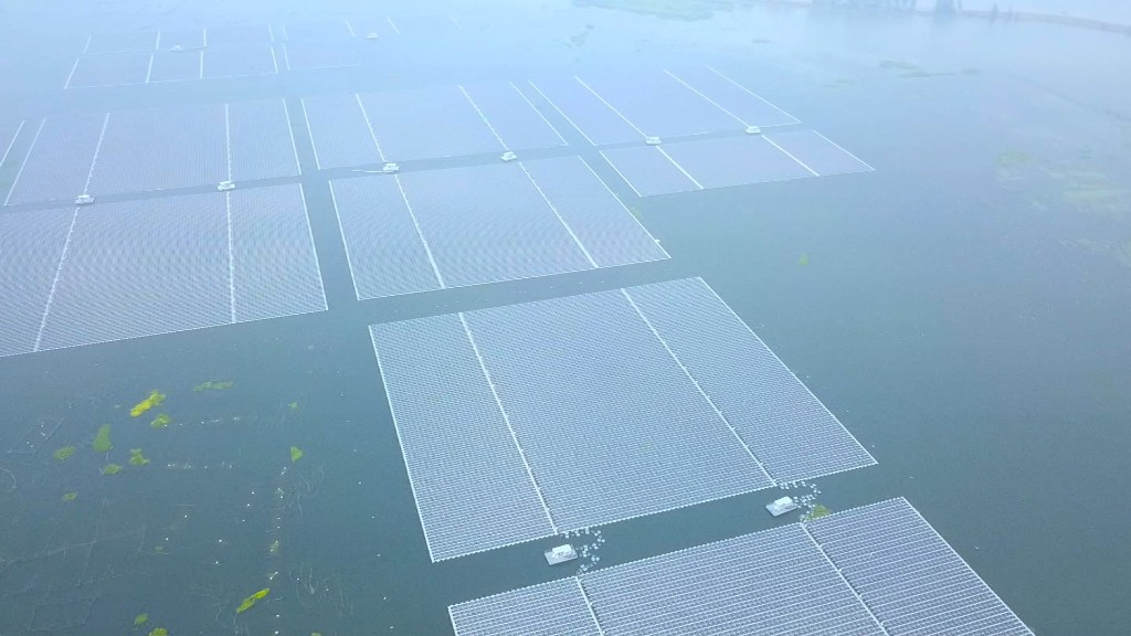 This solar farm floats atop a flooded coal mine