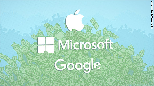 Apple, Google and Microsoft are hoarding $464 billion in cash