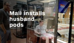 Mall installs 'husband pods' for bored spouses
