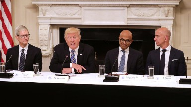 "Trump says Apple to build ""3 big plants, beautiful plants"" in US"