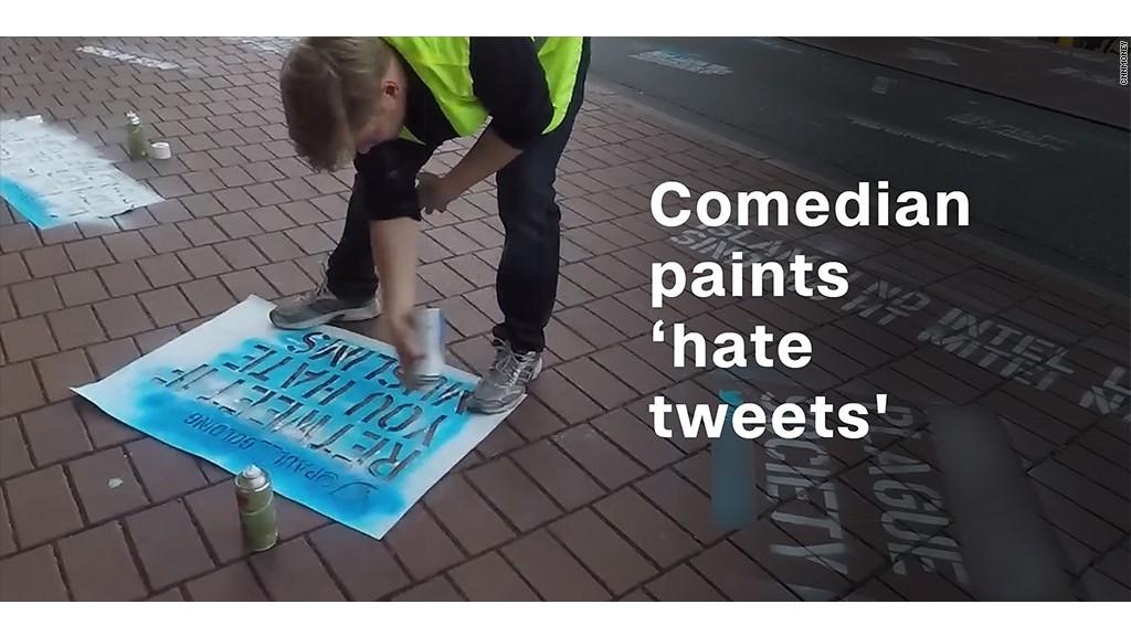 Comedian spray-paints hateful tweets outside Twitter's office