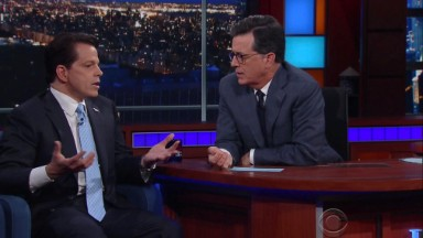 Colbert asks Scaramucci: Does Trump 'order his spine on Amazon Prime?'