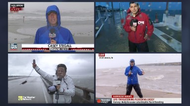 Networks, newspapers out in full force as Hurricane Harvey soaks Texas