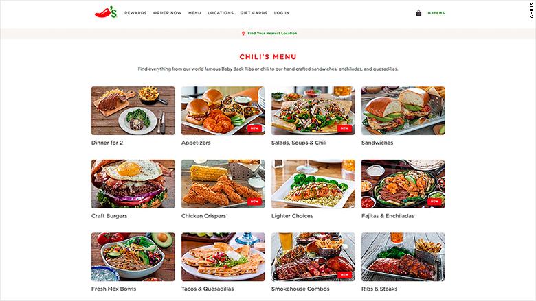 chilis online menu screenshot