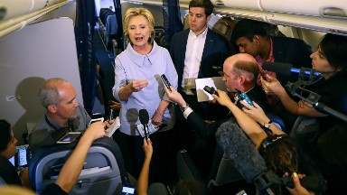 In book and tour, Hillary Clinton says Donald Trump had media advantage