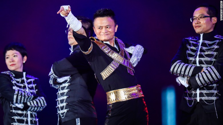 Alibaba founder Jack Ma dresses as Michael Jackson