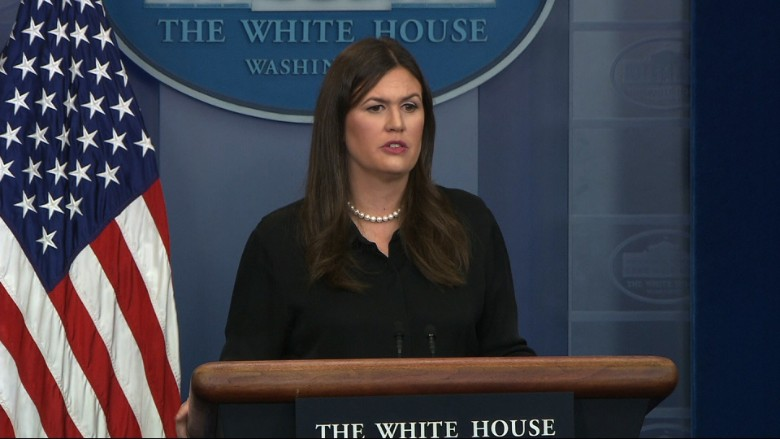 The White House's top spokesperson had a warning for a CNN reporter on Tuesday: Ask President Trump a question at an event you're about to attend, and you may not be allowed into similar events.