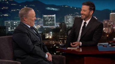 Jimmy Kimmel and Sean Spicer talk facts, Trump and inauguration crowd size