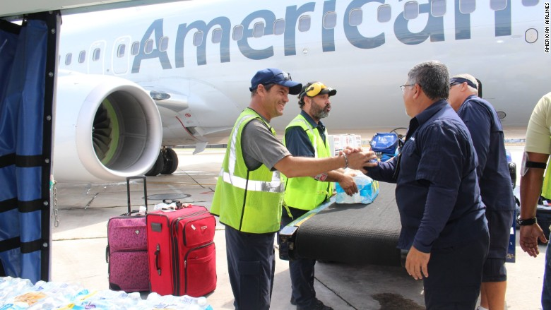 American Airlines Maria relief flight