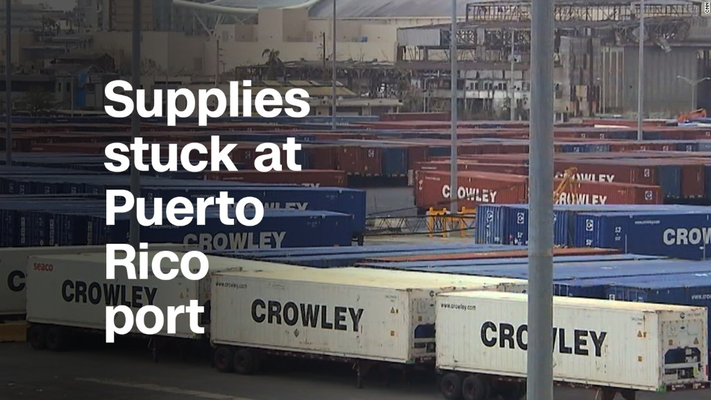Relief supplies stuck at Puerto Rico port