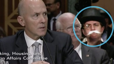 Monopoly Man photobombs Senate hearing on Equifax