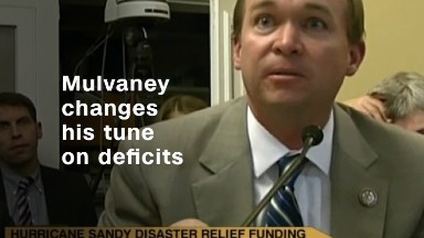 Watch Trump's budget director change his tune on deficits