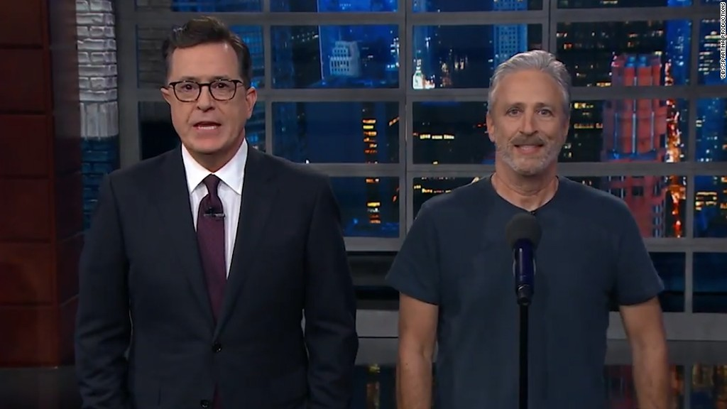 Jon Stewart Tries To Tell Stephen Colbert Nice Things About Trump