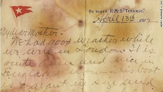 Unsent letter from Titanic sets auction record