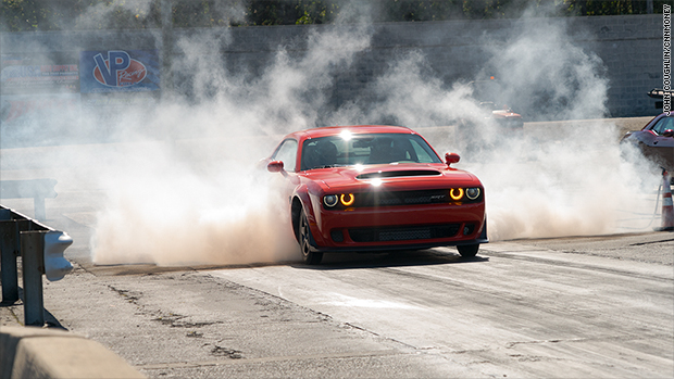 Launching the Dodge Demon on a drag strip