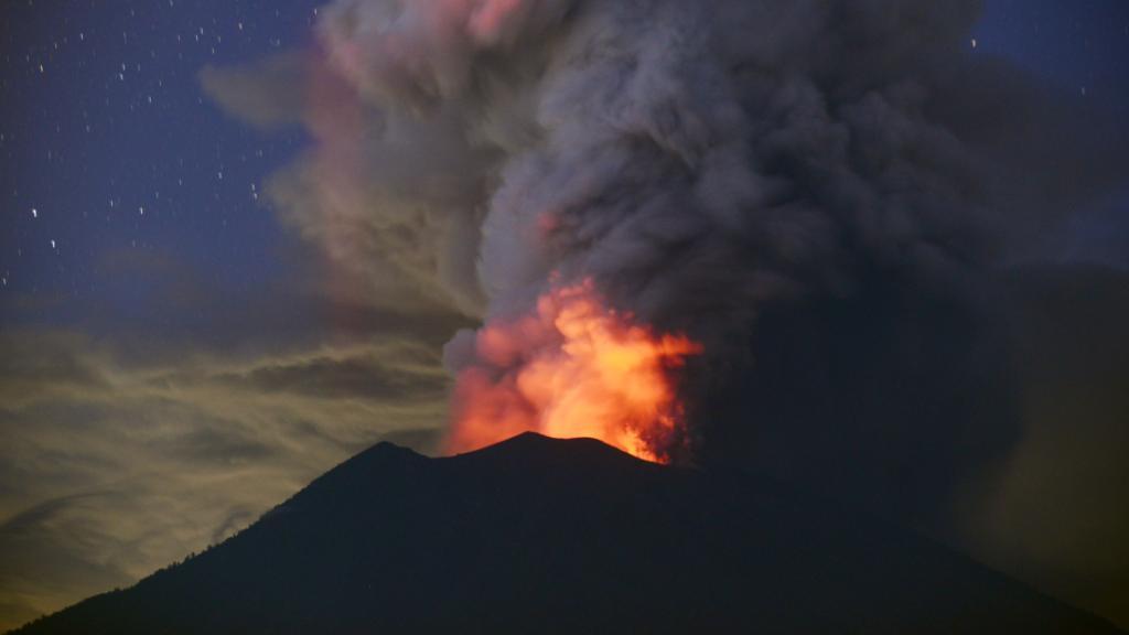 Watch how active Bali's volcano has been