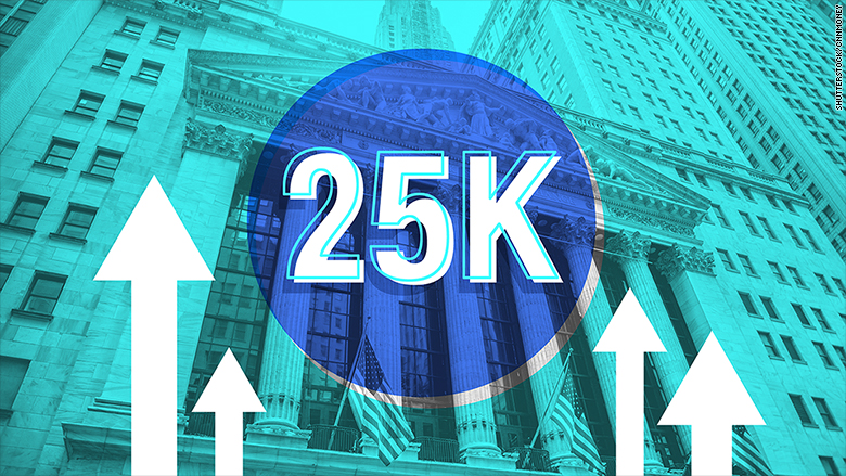 dow 25000 stocks wall street
