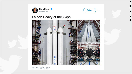 'Elon Musk tweets photos of SpaceX's new rocket' from the web at 'http://i2.cdn.turner.com/money/dam/assets/171220112343-falcon-heavy-540x304.jpg'